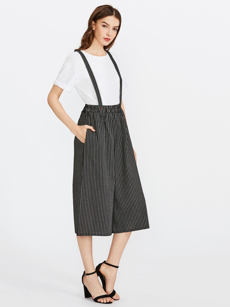 Vertical Striped Wide Leg Pants With Strap