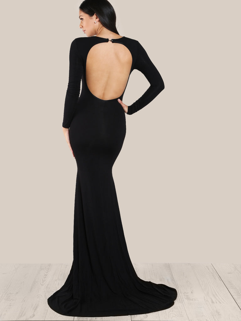 RZX Open Back Form Fitting Fishtail Dress