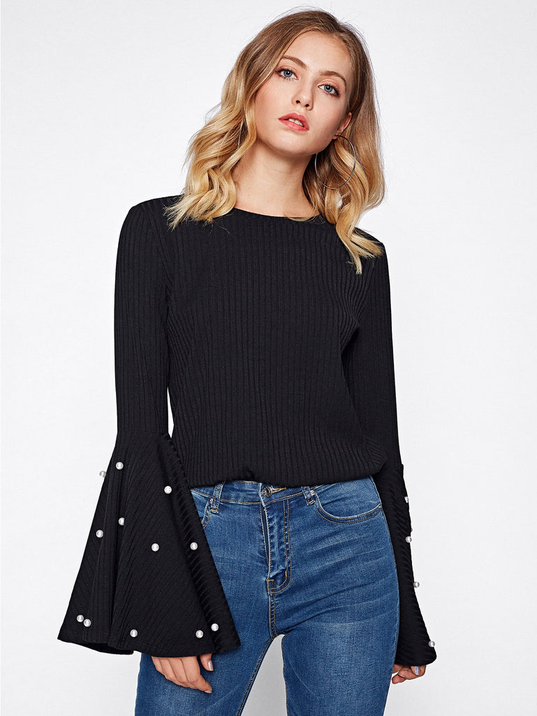 Pearl Beading Exaggerate Bell Sleeve Ribbed Tee