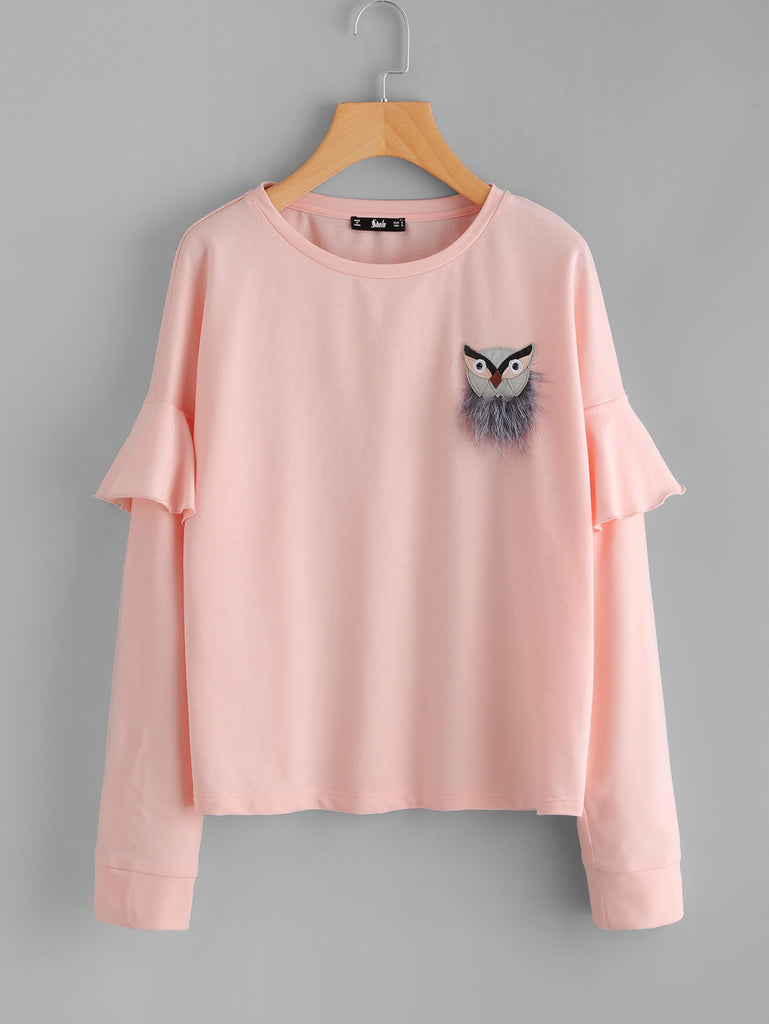 Owl Patch Ruffle Sleeve Pullover