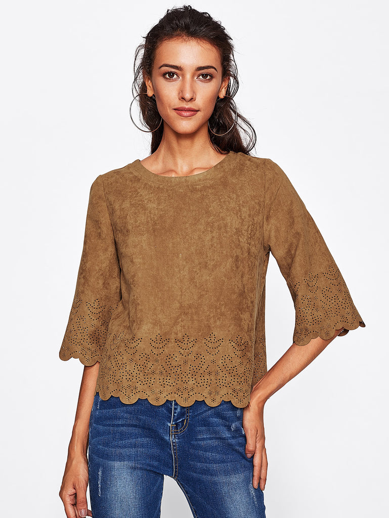 Scallop Laser Cut Suede Top