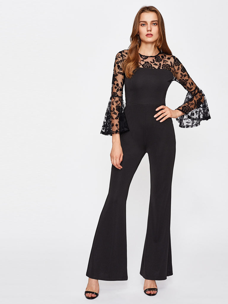 Floral Mesh Yoke Bell Sleeve Flared Jumpsuit