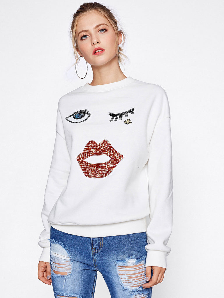 RZX Drop Shoulder Sequin Patch Pullover