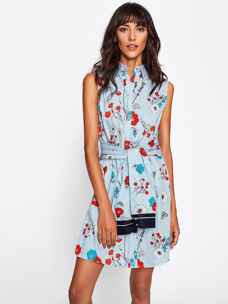 Random Botanical Print Tie Front Shirt Dress