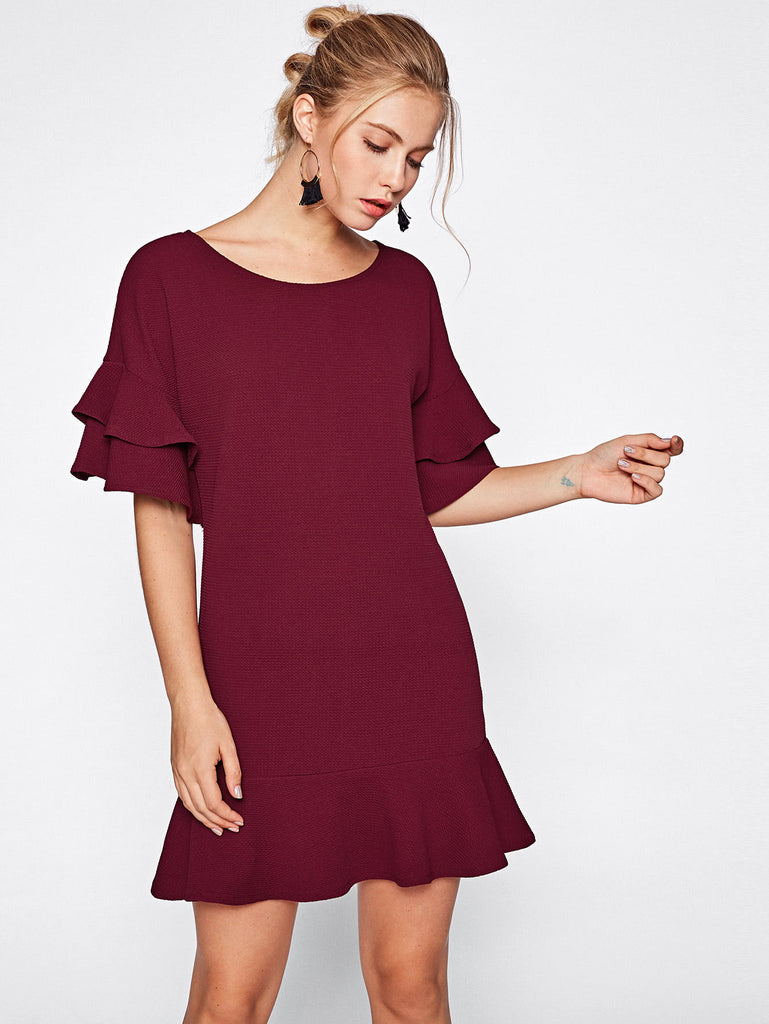 Tiered Flute Sleeve Frill Hem Textured Dress