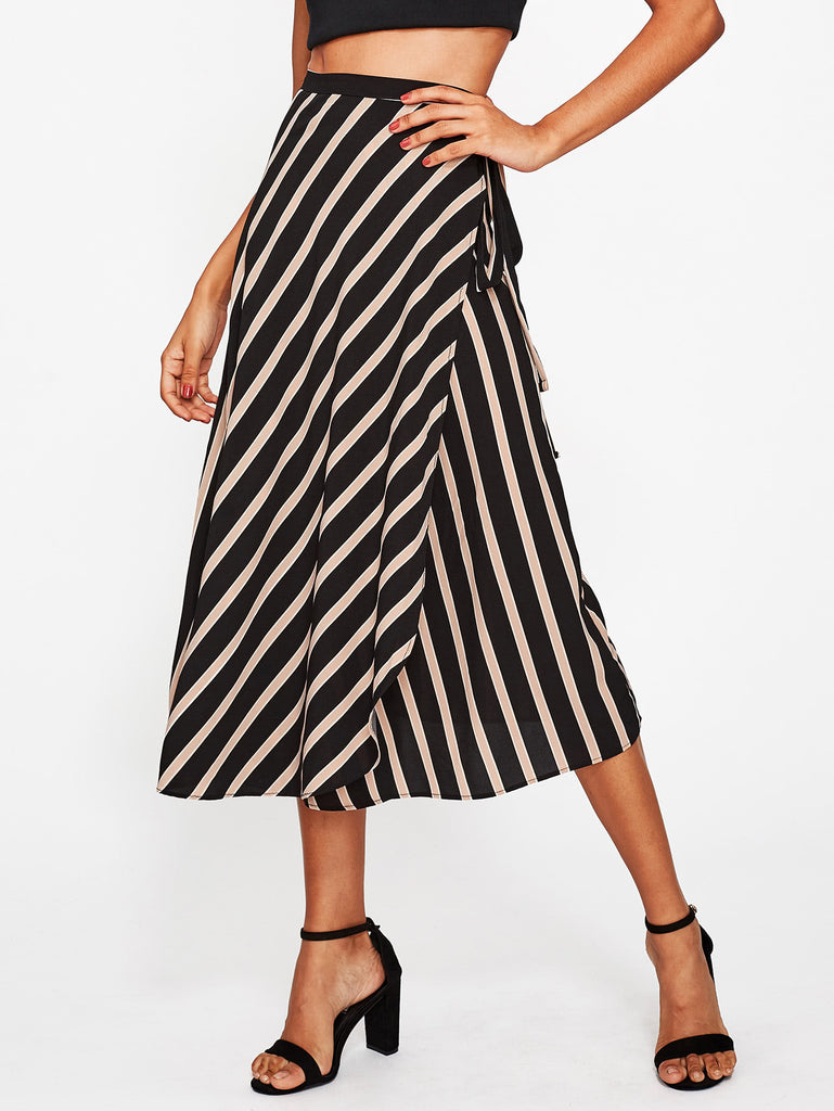Chiffon Striped Tie Detail Overlap Skirt
