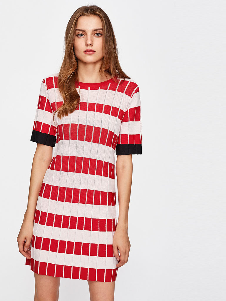 Wide Striped Knee Length Knit Dress