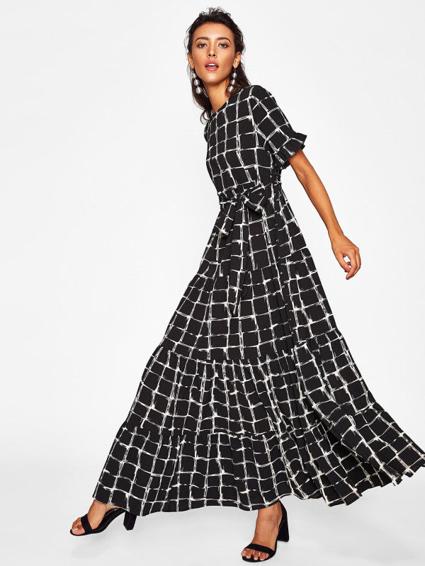 Frilled Sleeve Brush Stroke Grid Tiered Dress