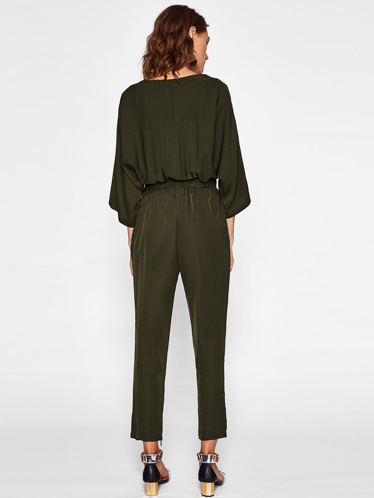 RZX Puff Sleeve Shirred Waist Jumpsuit