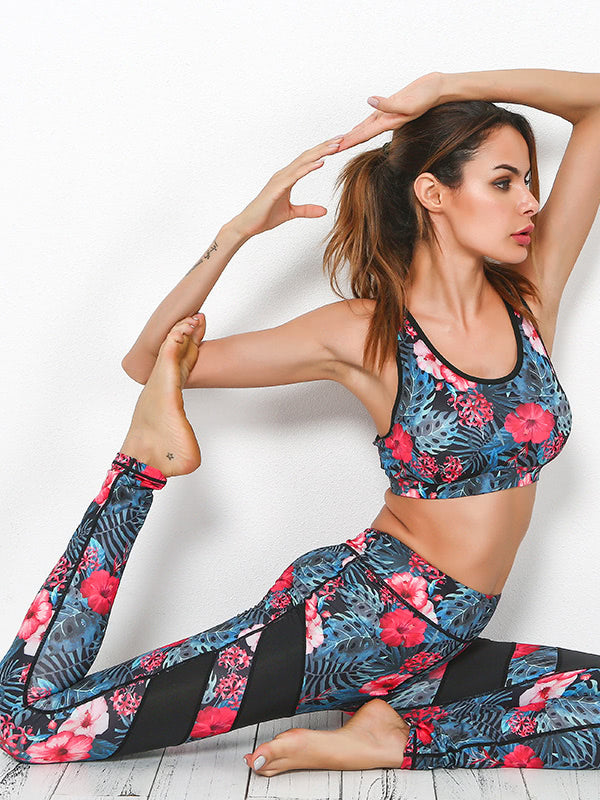 Active Botanical Print Bra With Contrast Paneled Leggings