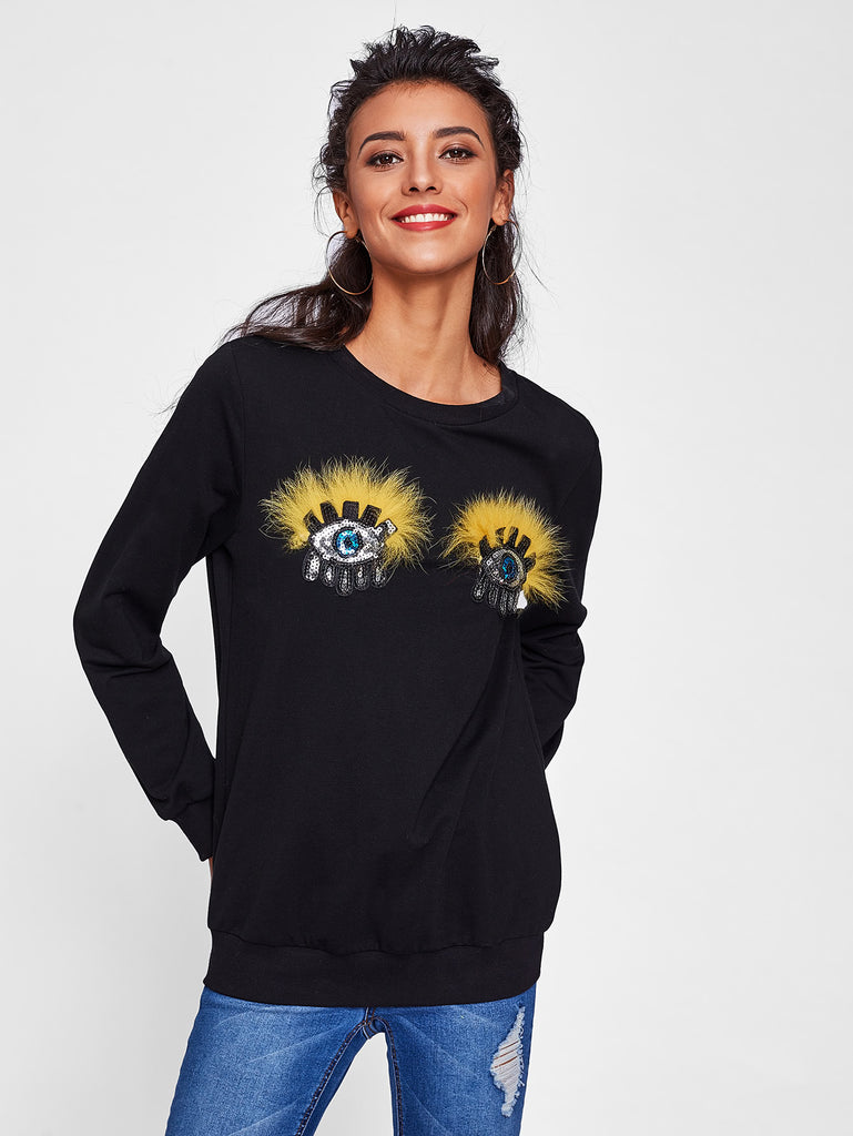Faux Fur Sequined Eye Patch sweatshirt