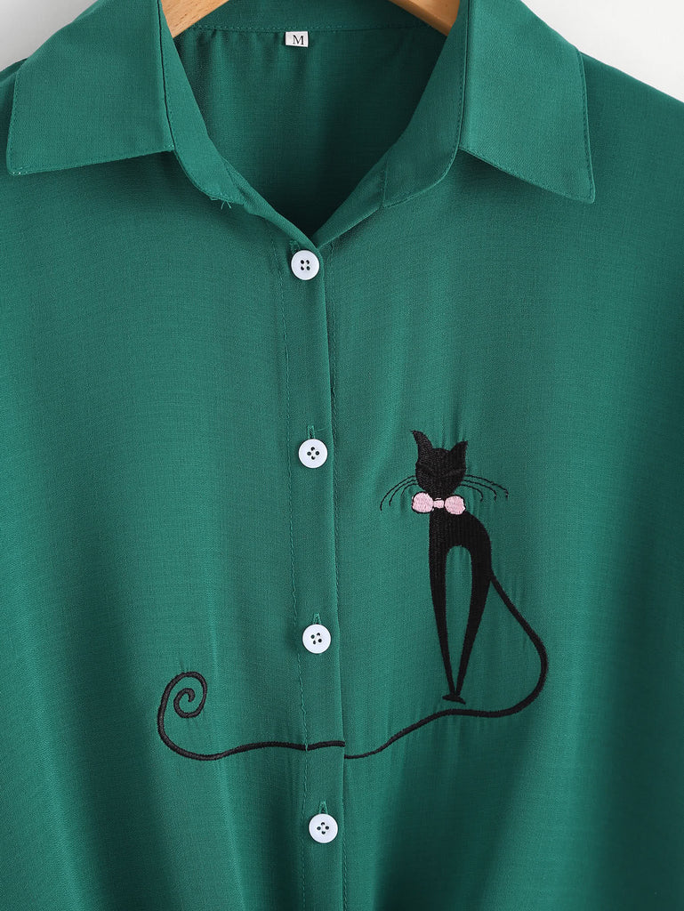Cat Embroidered Rolled Sleeve Knotted Shirt