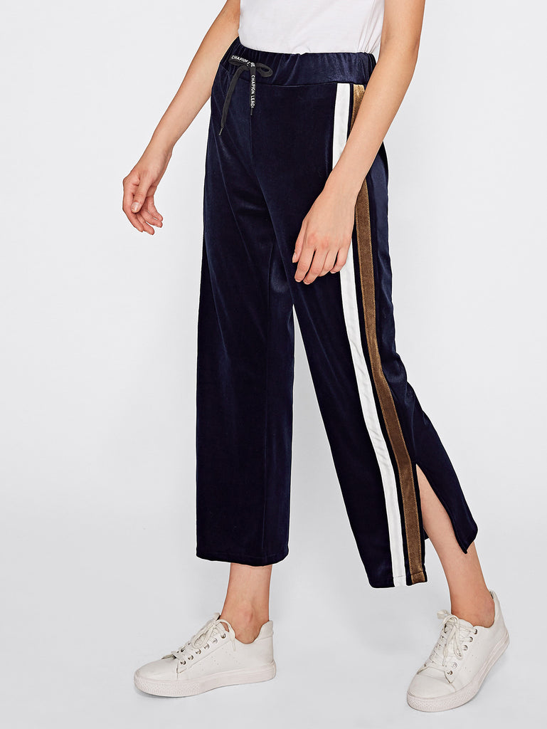 Contrast Side Stripe Velvet Pants