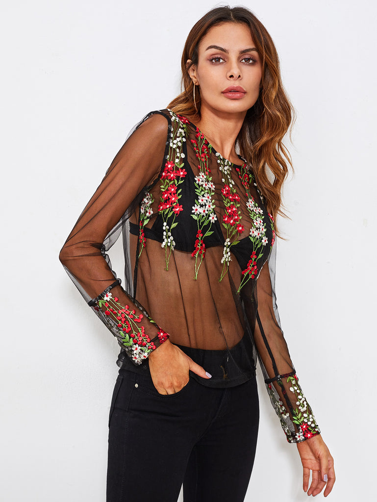 Botanical Embroidery Mesh Transparent Top