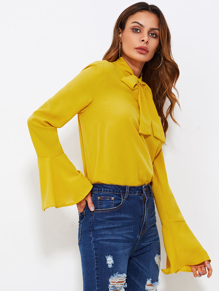 RZX Bow Tied Neck Bell Cuff Curved Hem Blouse