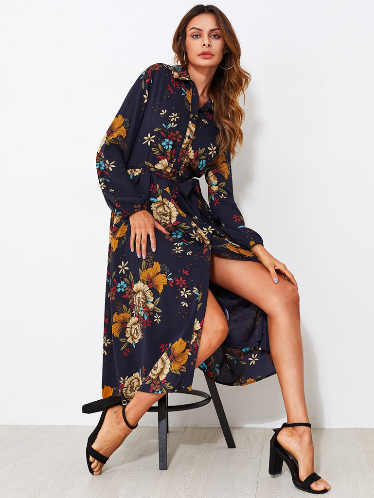 Self Tie Fit & Flare Botanical Shirt Dress