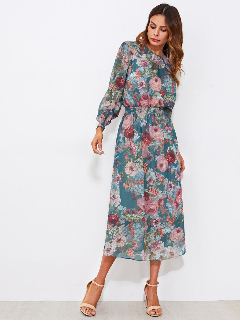 Calico Print Shirred Waist Dress With Liner Slip Dress
