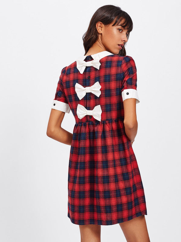 RZX Contrast Trim Buttoned Bow Back Checkered Dress