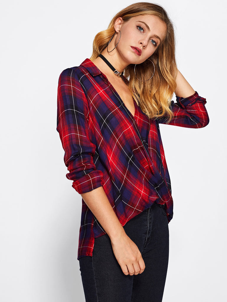 Surplice Draped Front Check Blouse