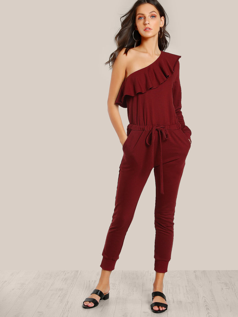 Flounce One Shoulder Sweat Jumpsuit