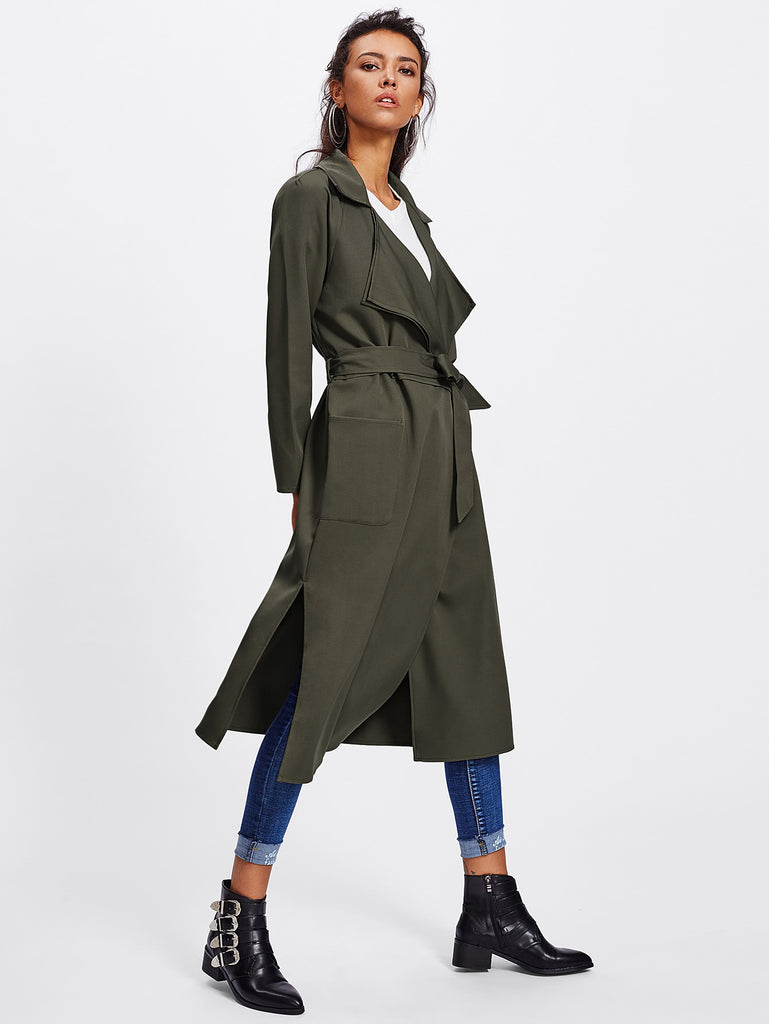 RZX Patch Pocket Front Self Belted Layered Coat