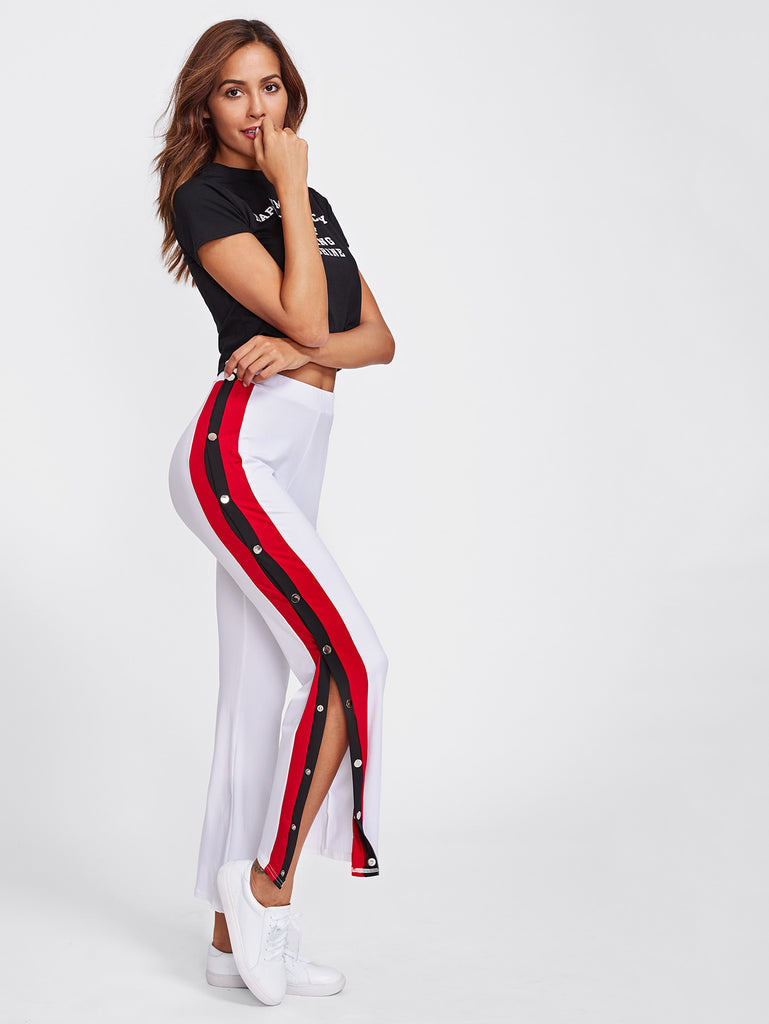 RZX Side Striped Button Embellished Split Pants