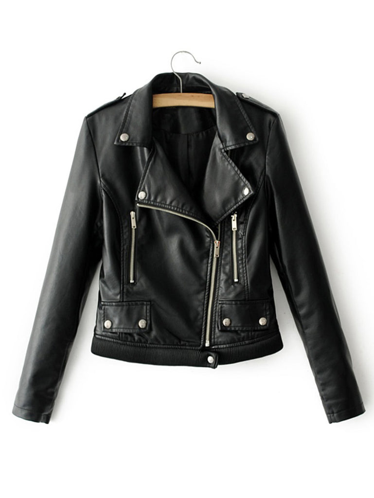 RZX  Ribbed Hem PU Biker Jacket