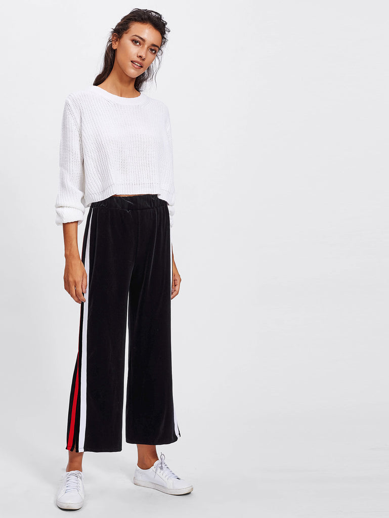 Split Striped Side Wide Leg Pants