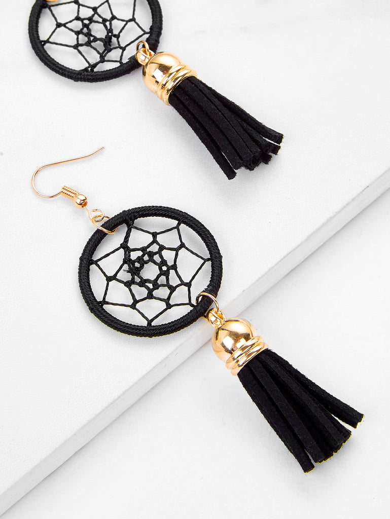 Dreamcatcher Design Tassel Drop Earrings
