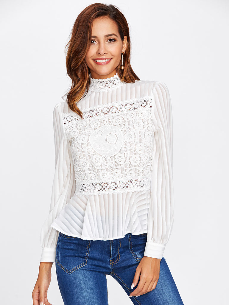 RZX  Lace Panel See Through Peplum Blouse