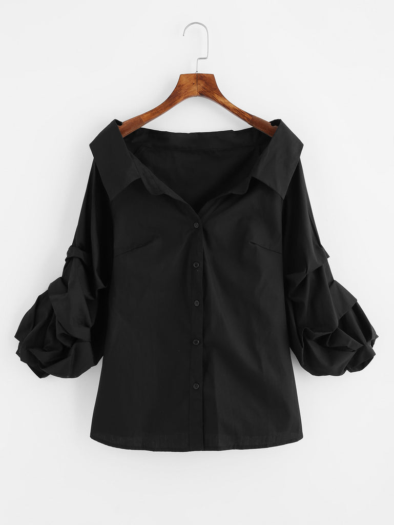 RZX  Gathered Sleeve Collared Boat Neck Blouse