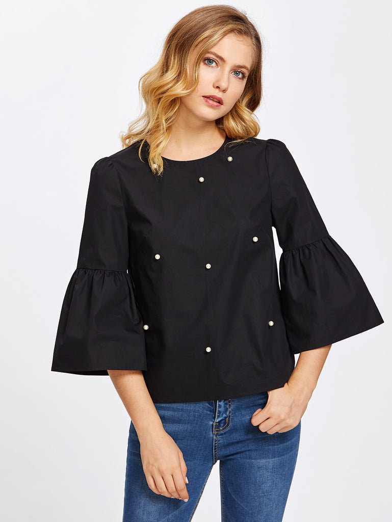 Trumpet Sleeve Pearl Embellished Keyhole Top