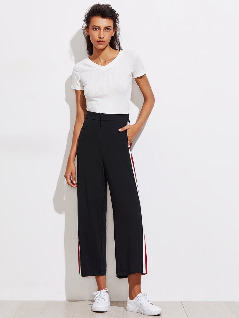 RZX Color Block Tape Side Slit Pants