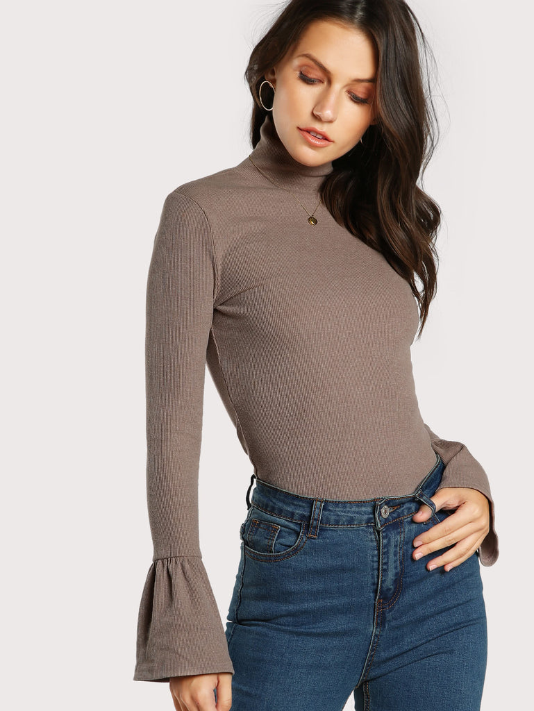 Bell Cuff Rib Knit Fitted Tee