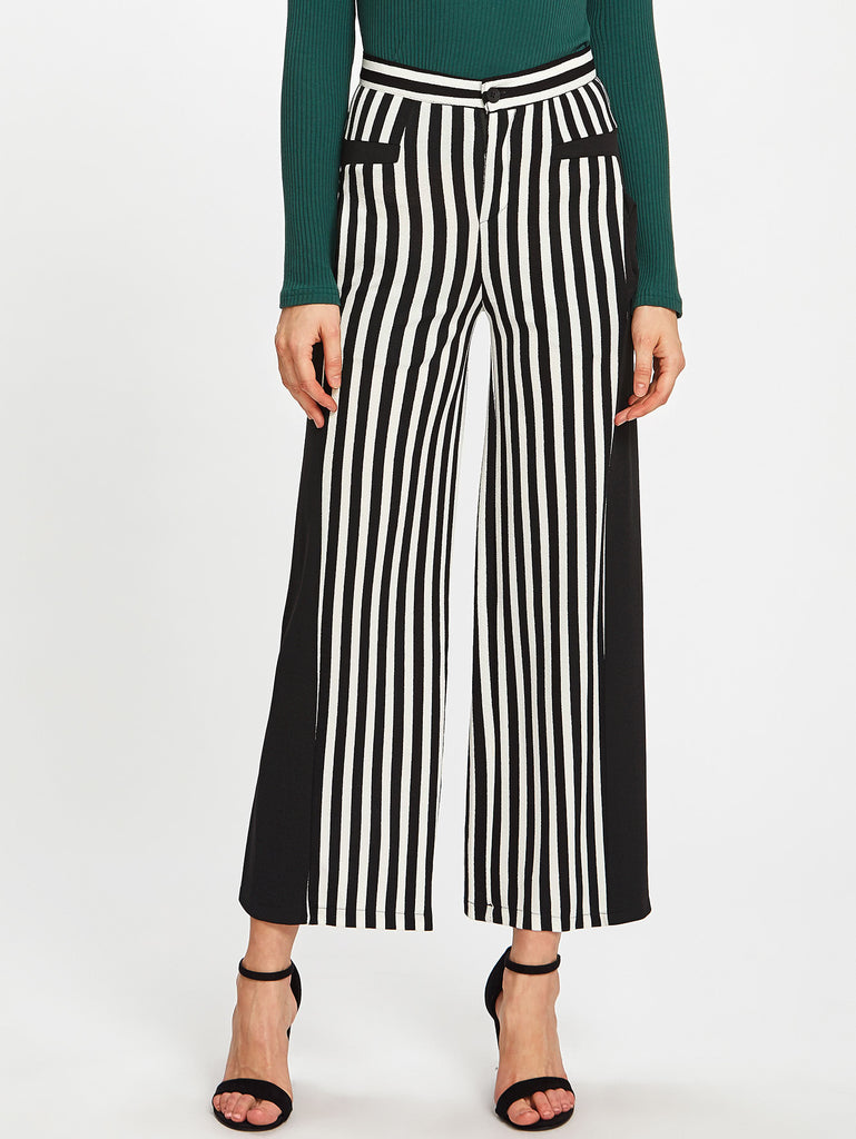 Contrast Panel Vertical Striped Pants