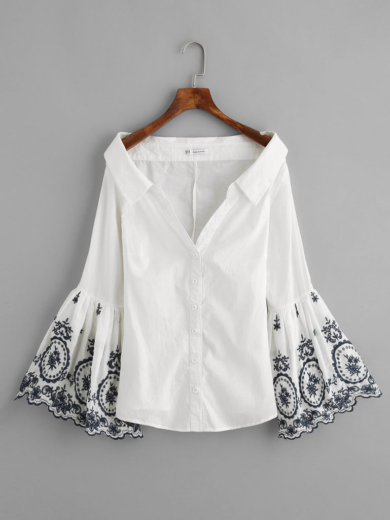 RZX Embroidered Trumpet Sleeve Collared Boat Neck Blouse