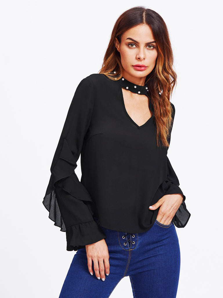 Pearl Beading Choker Neck Frilled Top