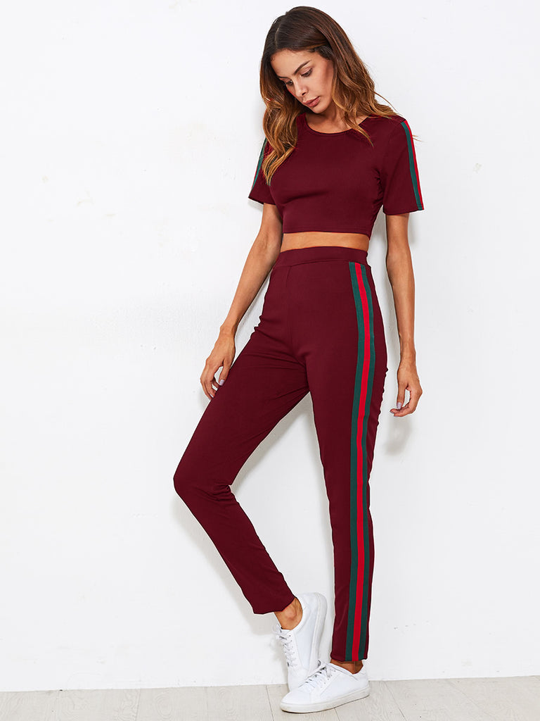 RZX  Side Striped Crop Tee With Pants