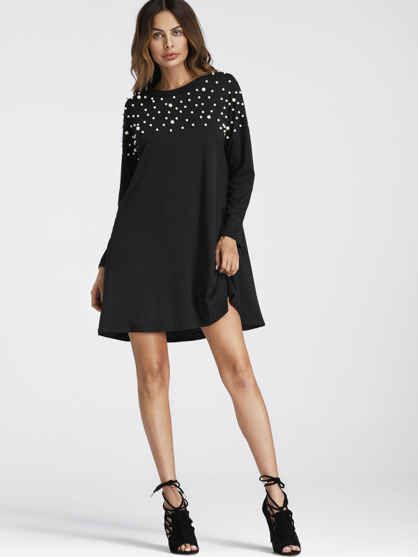 Pearl Beaded Detail Shift Dress