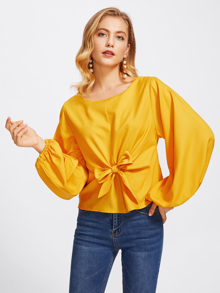 Lantern Sleeve Knot Bow Front Top