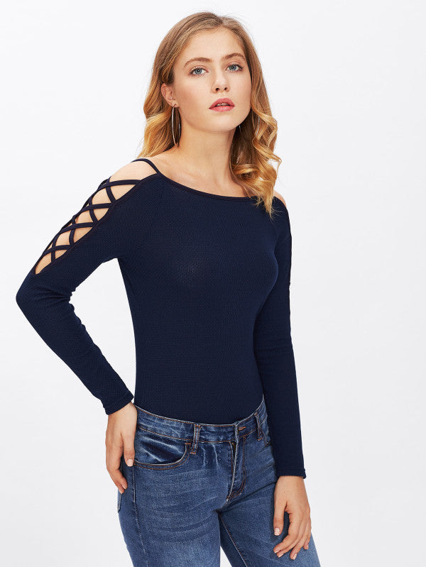 Ribbed Knit Crossover Open Shoulder Top