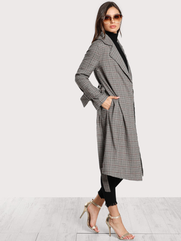 RZX Belted Cuff And Waist Plaid Coat