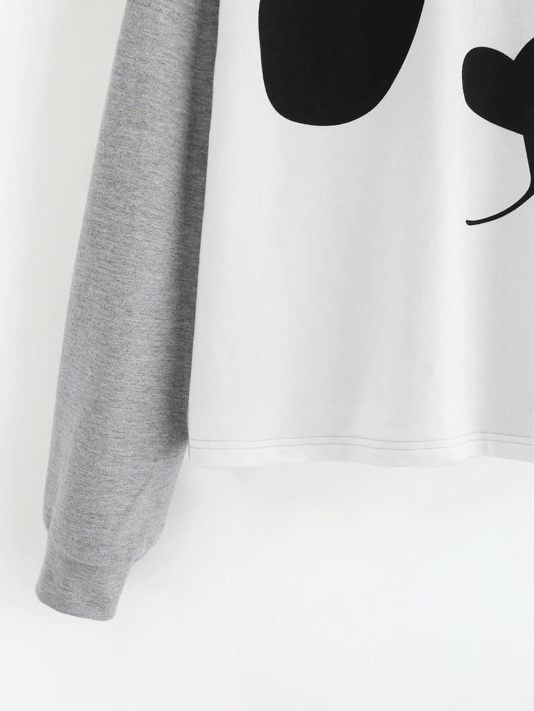 RZX  Panda Print Heather Knit Hoodie