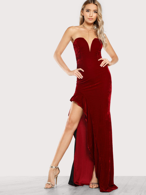 Sweetheart Ruffle Accent Asymmetric Maxi Dress