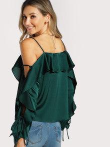 Lace Up Sleeve Flounce Trim Top