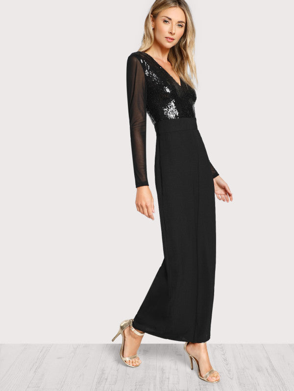 RZX  Sequin Bodice Wide Leg Jumpsuit