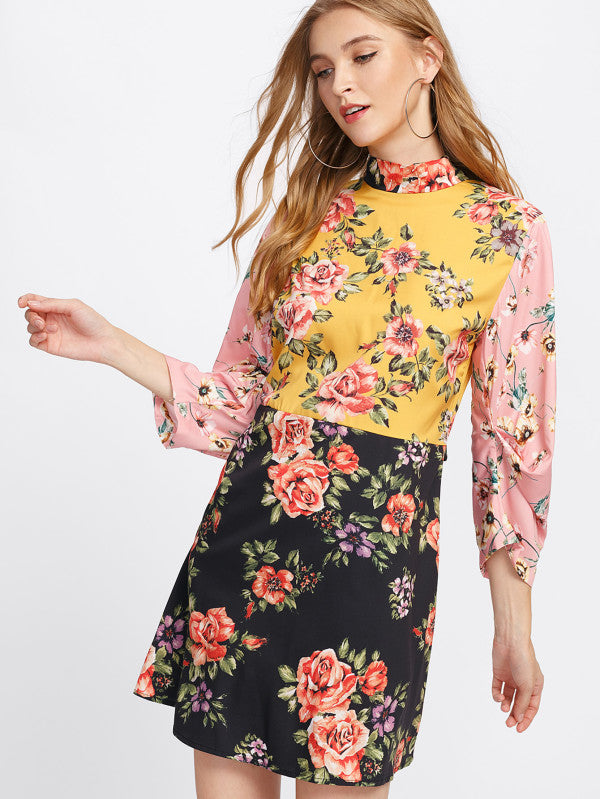 RZX Tie Back Floral Dress