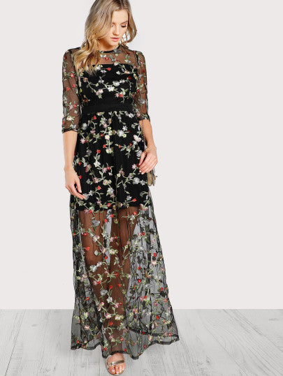 RZX Botanical Embroidery Mesh Overlay 2 In 1 Dress