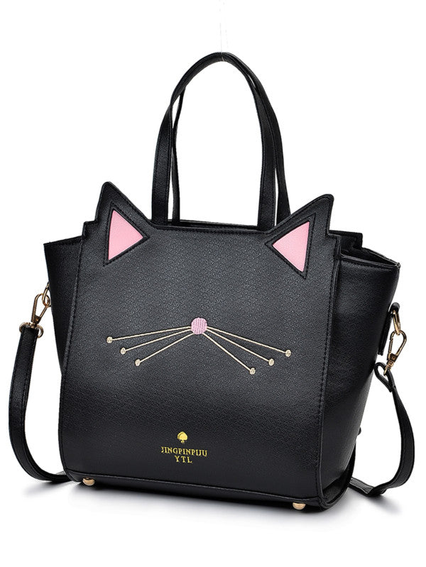 RZX Embroidery Detail Cat Shaped Design Shoulder Bag