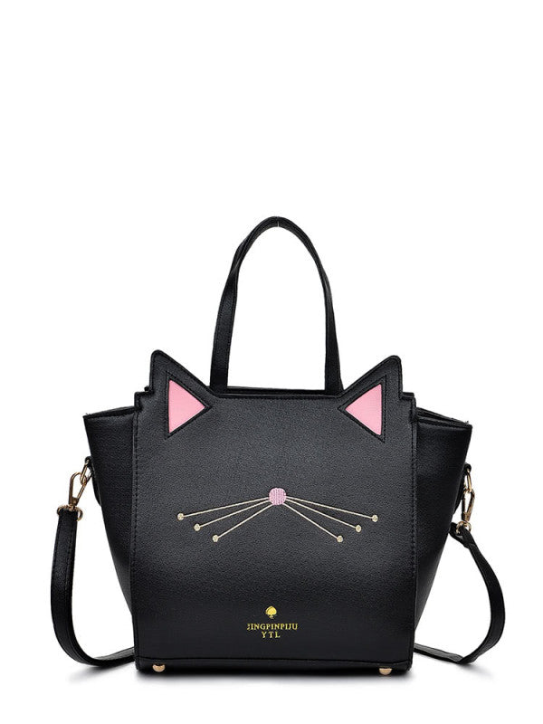 Embroidery Detail Cat Shaped Design Shoulder Bag